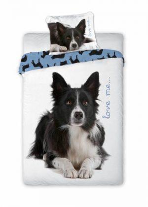 Dekbedovertrek met hond Border Collie, kind, maten 140 x 200, 70 x 90, inclusief kussensloop, 100% katoen, 1-persoons, goede kwaliteit, snelle levering, kleuren achtergrond wit, met blauw tinten en foto van Border Collie hond