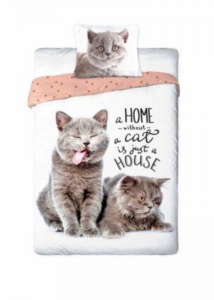 kinder dekbedovertrek, kleur wit met afbeelding katten, 100% katoen, 1-persoons, inclusief kussensloop, maten 140 x 200, 70 x 90